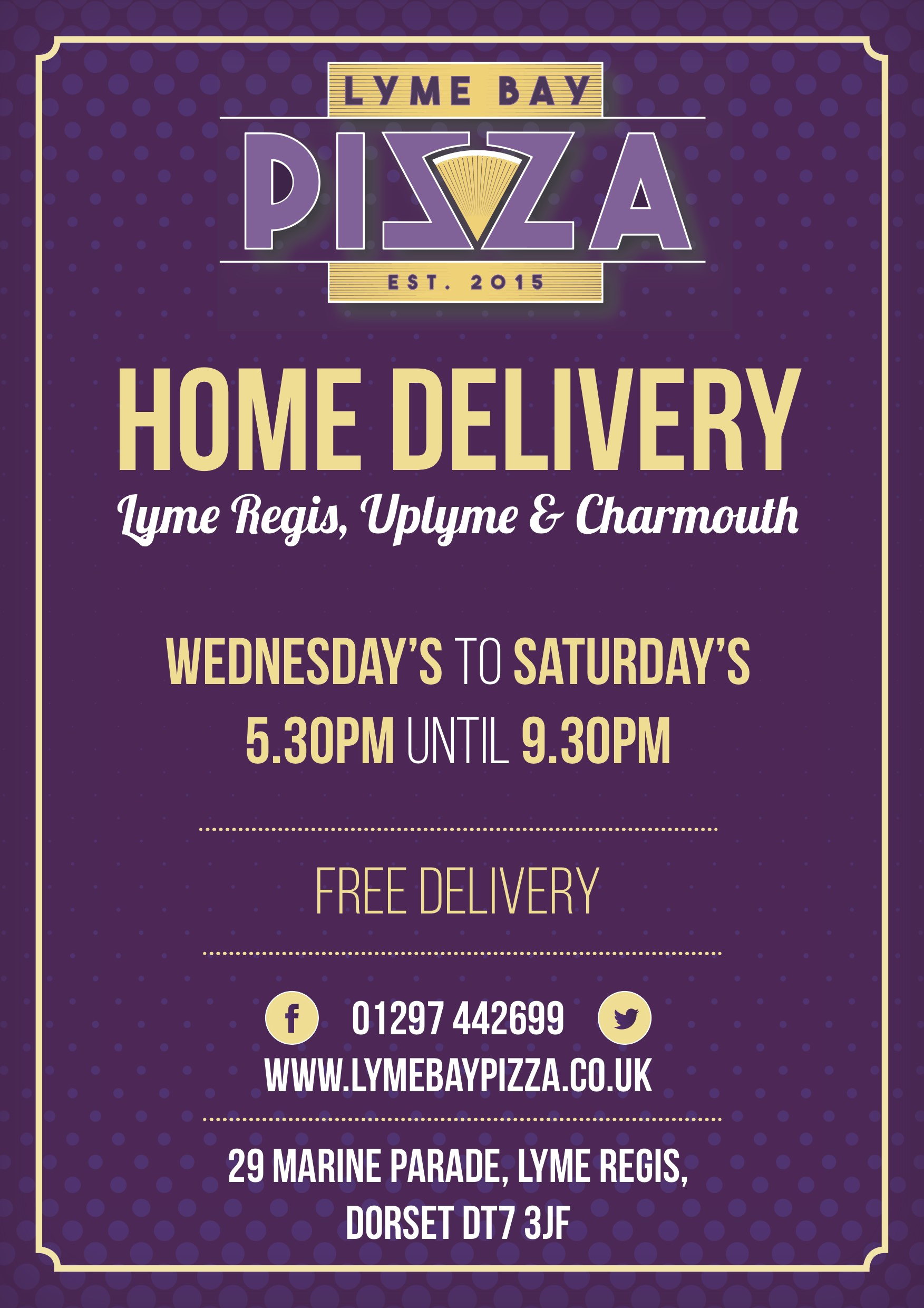 Pizza delivery from Lyme Bay Pizza