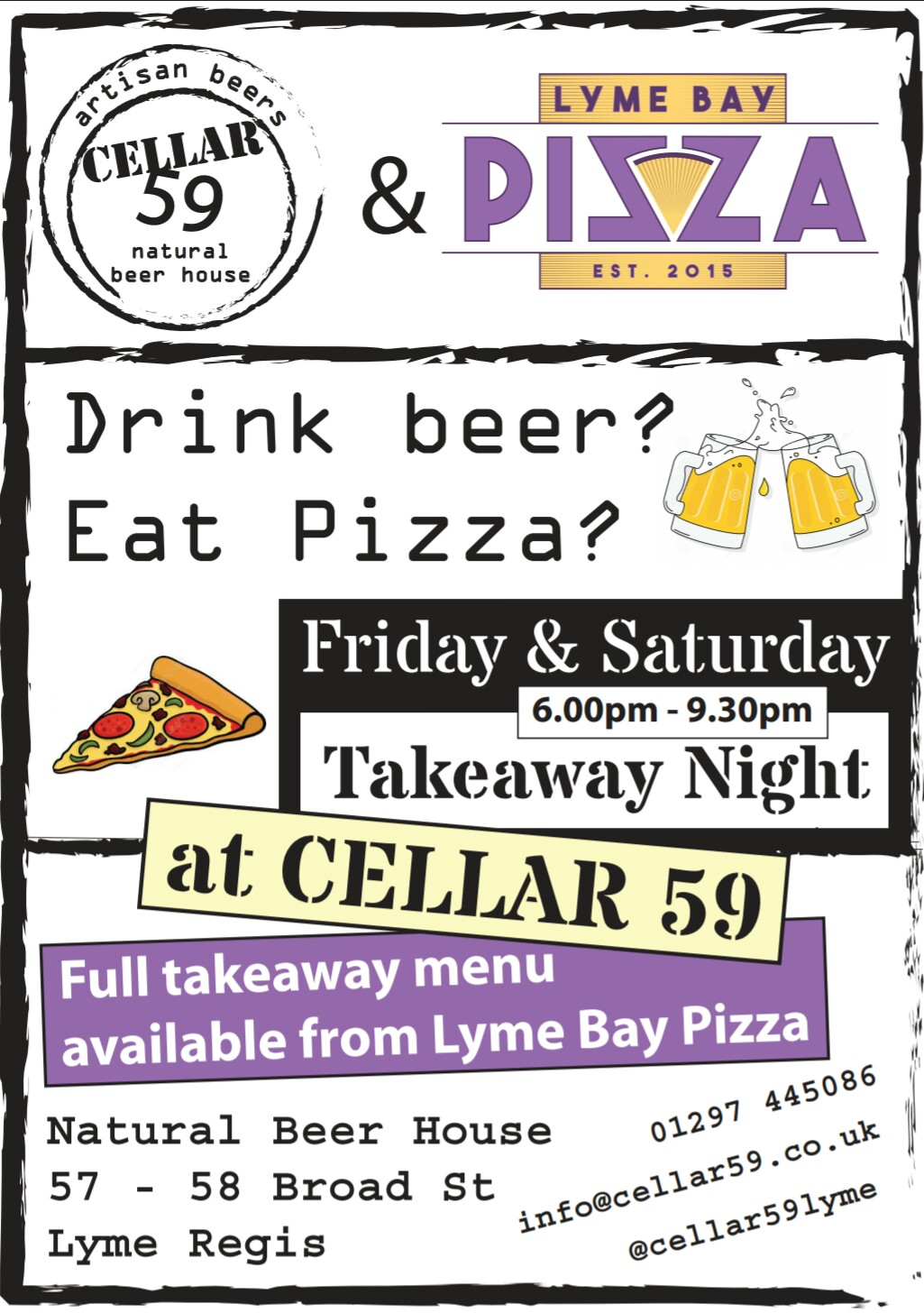 Natural Beer House serve Lyme Bay Pizza's every Friday and Saturday night between 6pm and 9:30pm. Natural Beer House 57-58 Broad St, Lyme Regis.